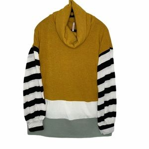 My Story striped colorblock cowl neck sweater